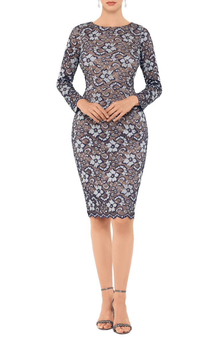 Xscape Two Tone Floral Lace Long Sleeve Cocktail Dress