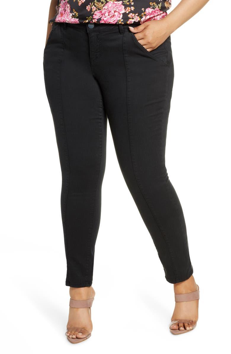 SLINK JEANS Mid Rise Cigarette Leg Jeans, Main, color, BLACK