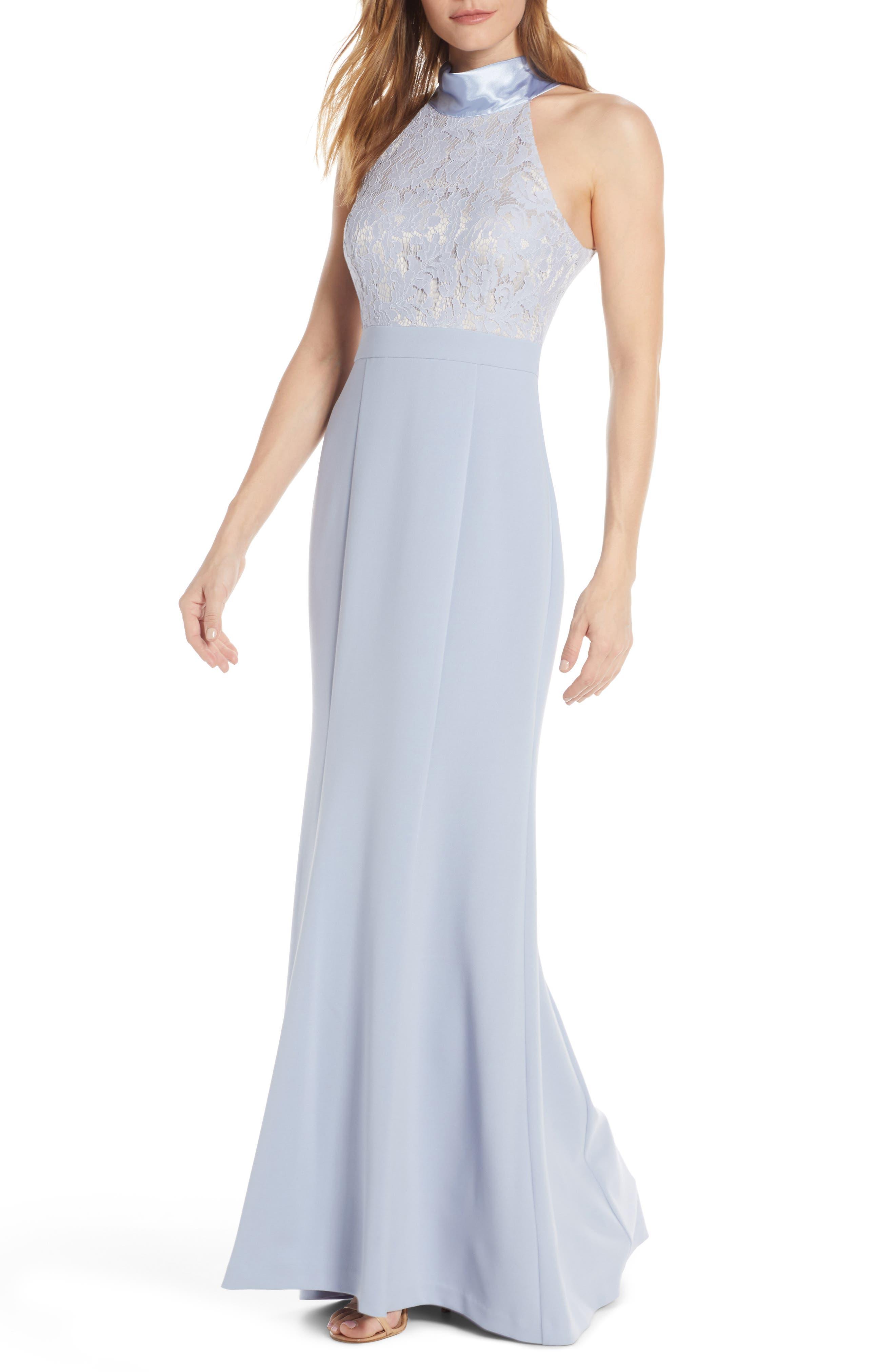 60s Dresses | 1960s Dresses Mod, Mini, Hippie Womens Eliza J Halter Neck Lace  Crepe Mermaid Gown $136.80 AT vintagedancer.com