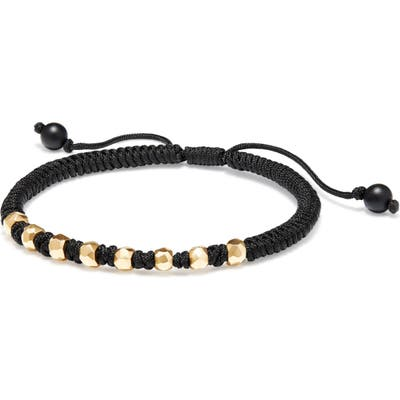 David Yurman Dy Fortune Woven Bracelet With Black Onyx In 18K Gold