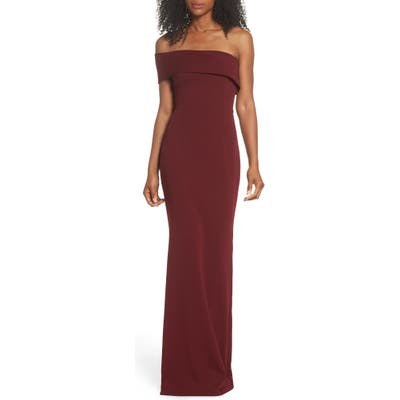 Katie May Titan One-Shoulder Cutout Crepe Gown, Burgundy