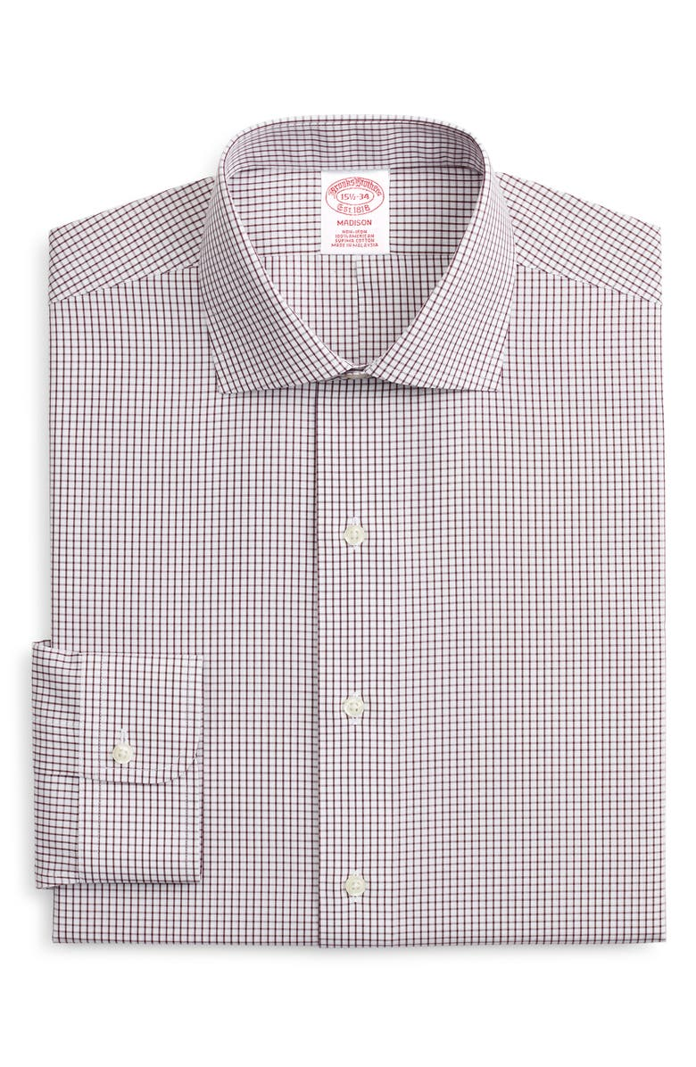 BROOKS BROTHERS Madison Classic Fit Non-Iron Check Dress Shirt, Main, color, WPFIG