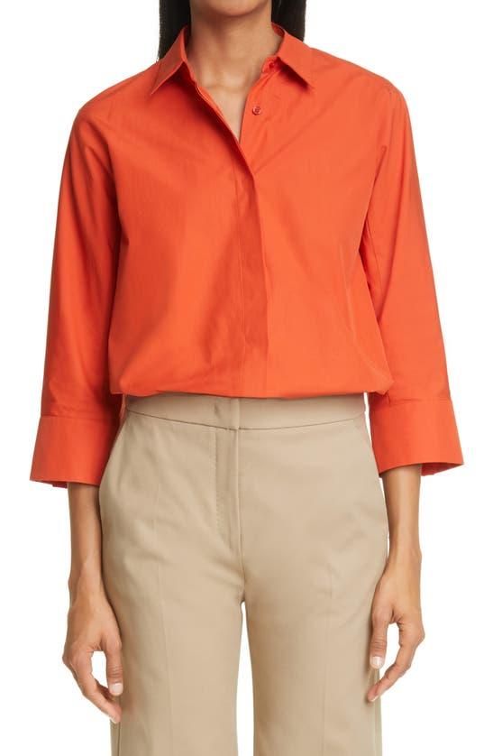 Max Mara Aleggio Cotton Tunic Shirt In Orange