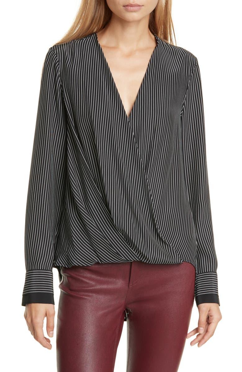 RAG & BONE Victor Stripe Silk Blouse, Main, color, BLKWHSTRIP