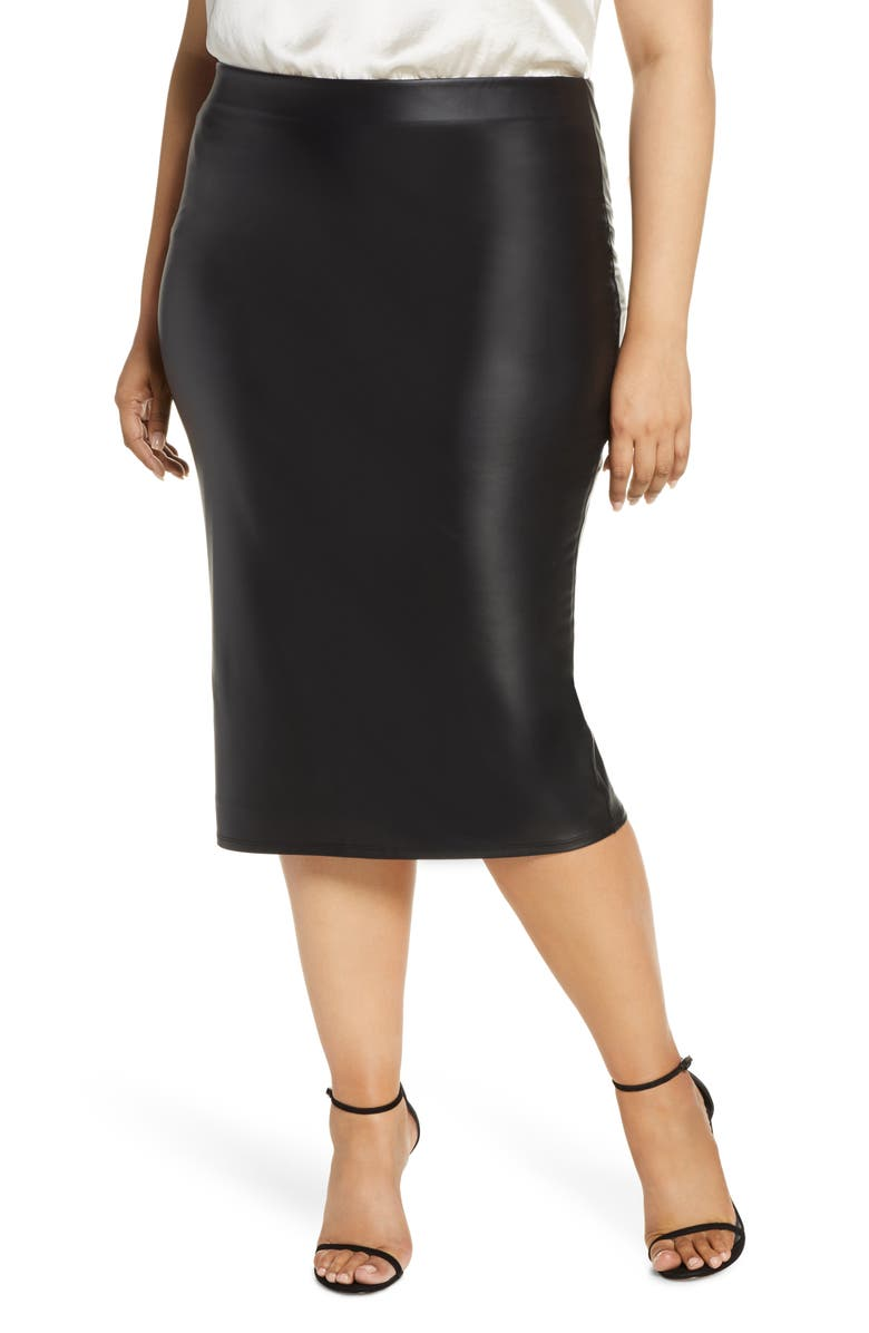 COLDESINA Faux Leather Pencil Skirt, Main, color, LIQUID LEATHER
