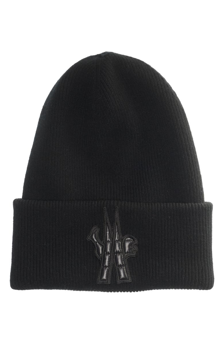 MONCLER Grenoble Puffer Logo Wool Beanie, Main, color, BLACK