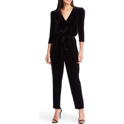 1.state Tie Waist Velvet Jumpsuit, Black