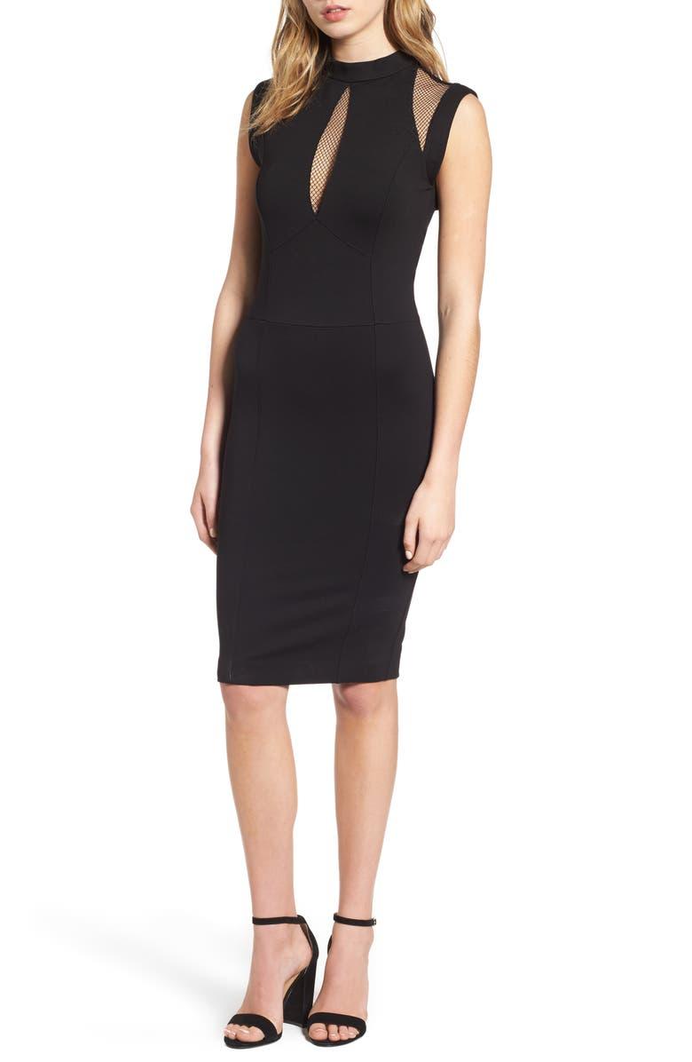 SENTIMENTAL NY Galactica Body-Con Dress, Main, color, BLACK
