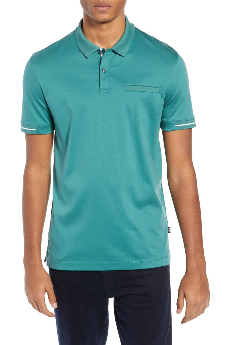 BOSS Parlay Regular Fit Polo, Main, color, GREEN