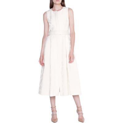 Akris Floral Jacquard Midi Dress, White