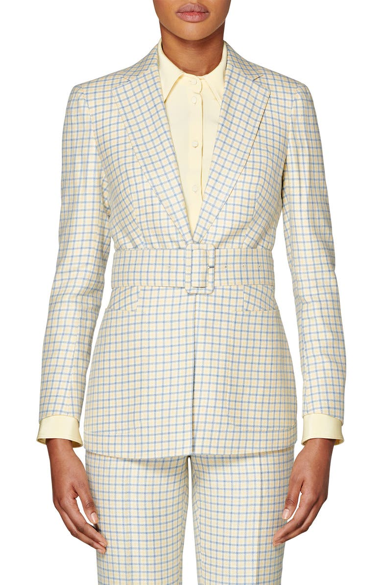 SUISTUDIO Cameron Belted Check Jacket, Main, color, YELLOW/ LIGHT BLUE CHECKED