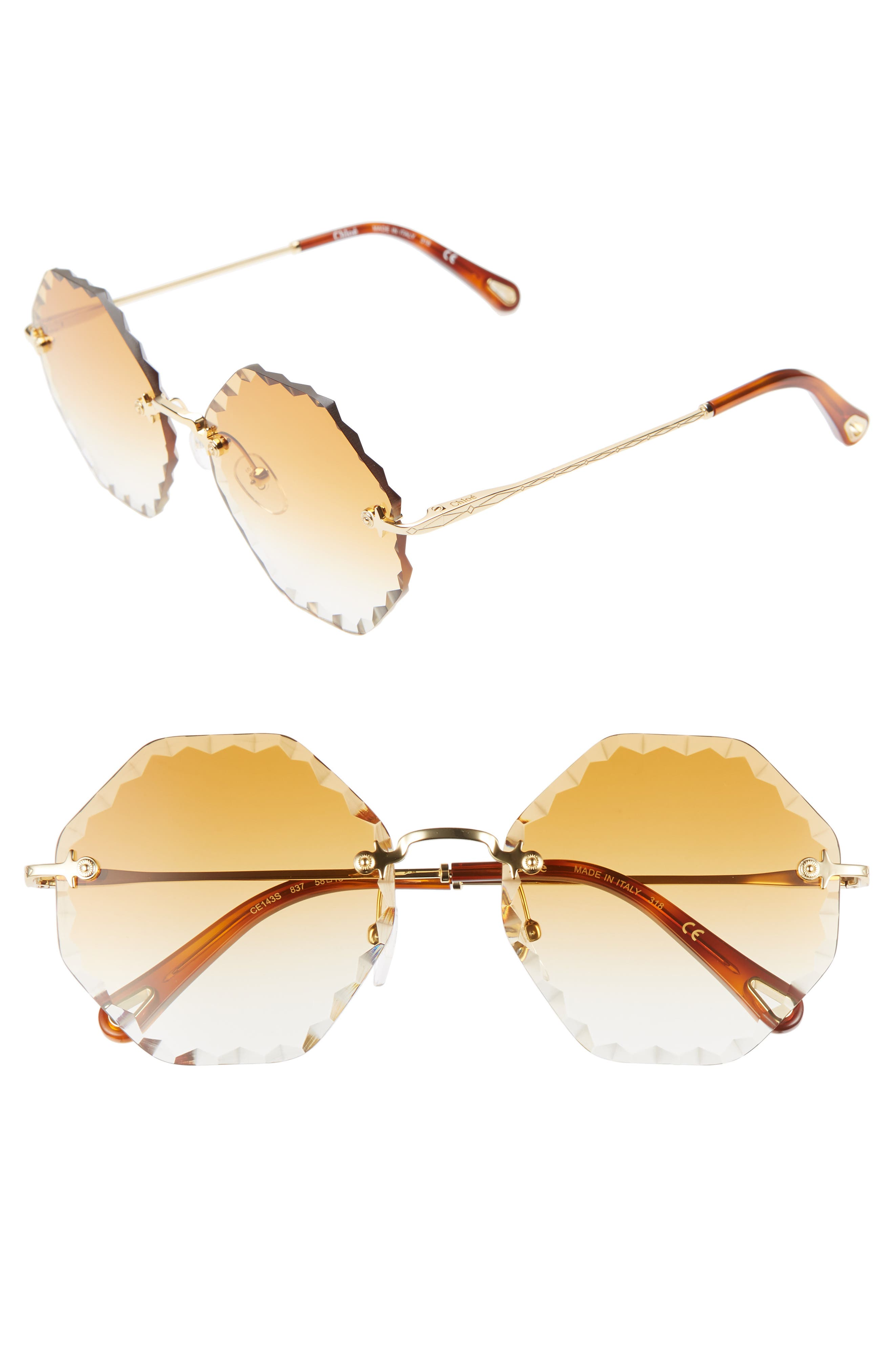 Chloe Rosie 5m Gradient Octagonal Rimless Sunglasses - Gold/ Gradient Brick