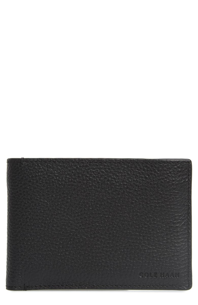 COLE HAAN Colby Leather Wallet, Main, color, BLACK