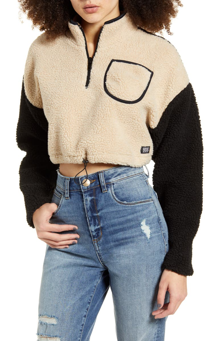 BDG URBAN OUTFITTERS Cropped Teddy Fleece Jacket, Main, color, MULTI