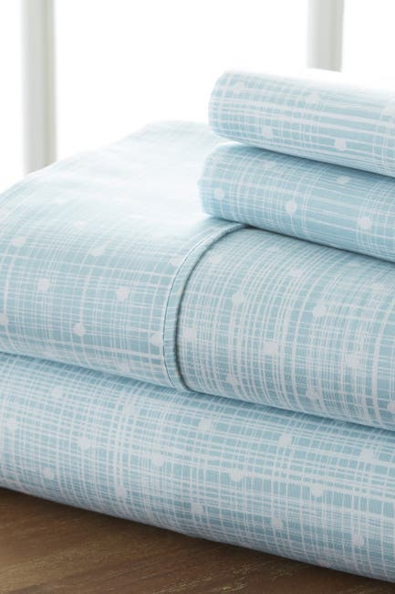Image of IENJOY HOME Home Spun Premium Ultra Soft Polka Dot Pattern 3-Piece Twin Bed Sheet Set - Aqua