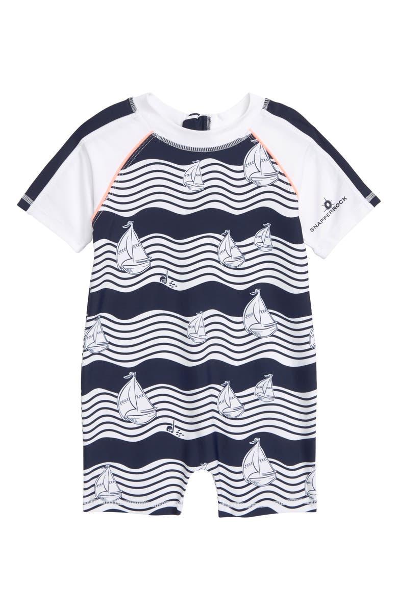 SNAPPER ROCK Ocean Explorer One-Piece Rashguard Swimsuit, Main, color, BLUE