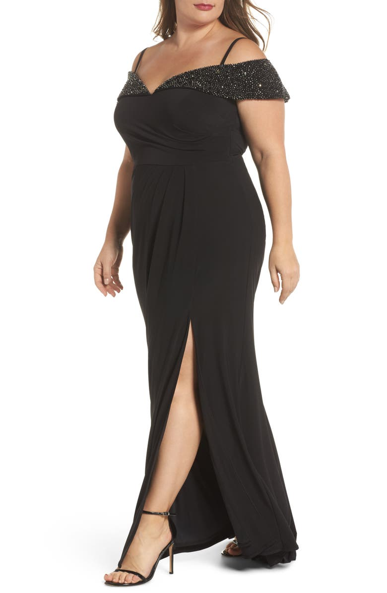 XSCAPE Embellished Cold Shoulder Gown, Main, color, 001