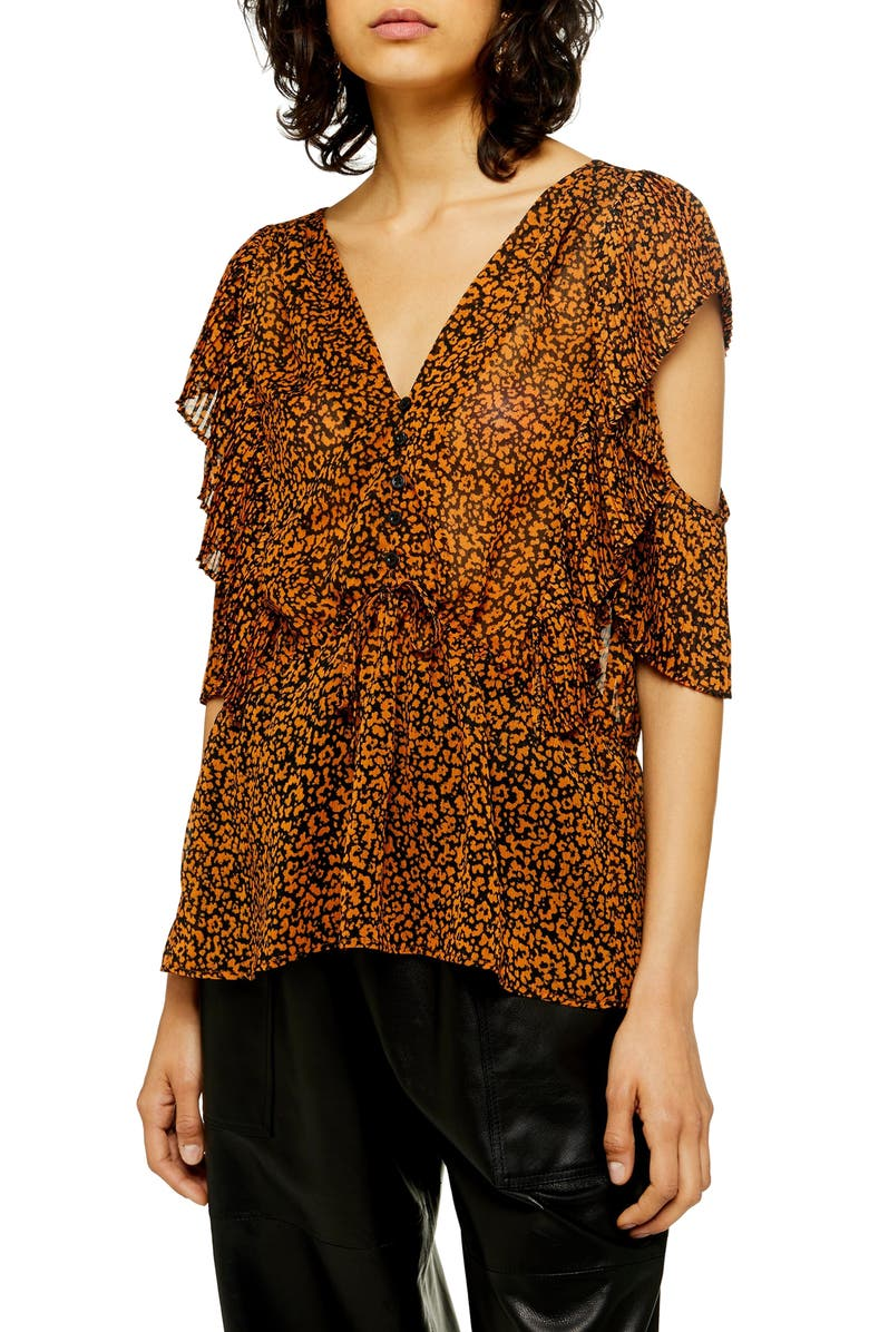 TOPSHOP Animal Print Plissé Ruffle Top, Main, color, BROWN MULTI