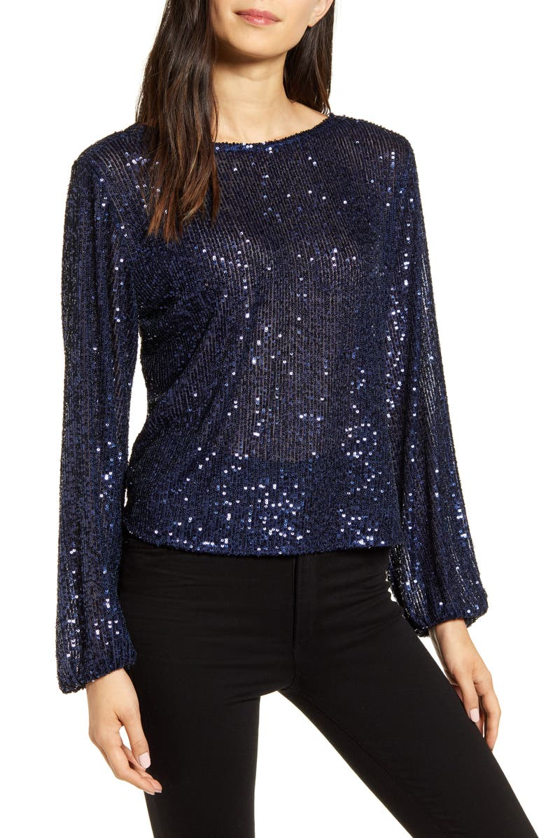 CHELSEA28 Sequin Long Sleeve Top, Main, color, 410