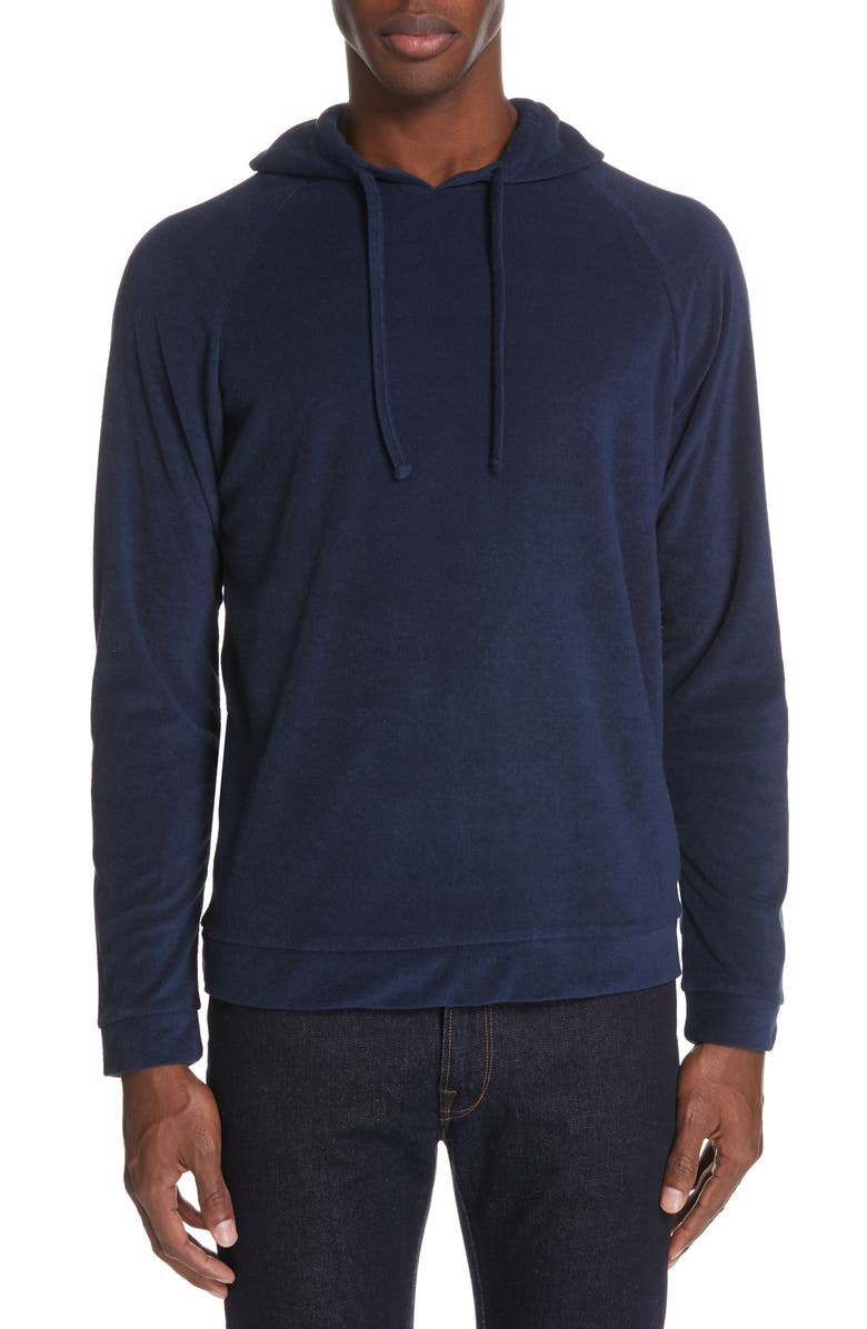ONIA Aaron Terry Knit Hoodie, Main, color, DEEP NAVY