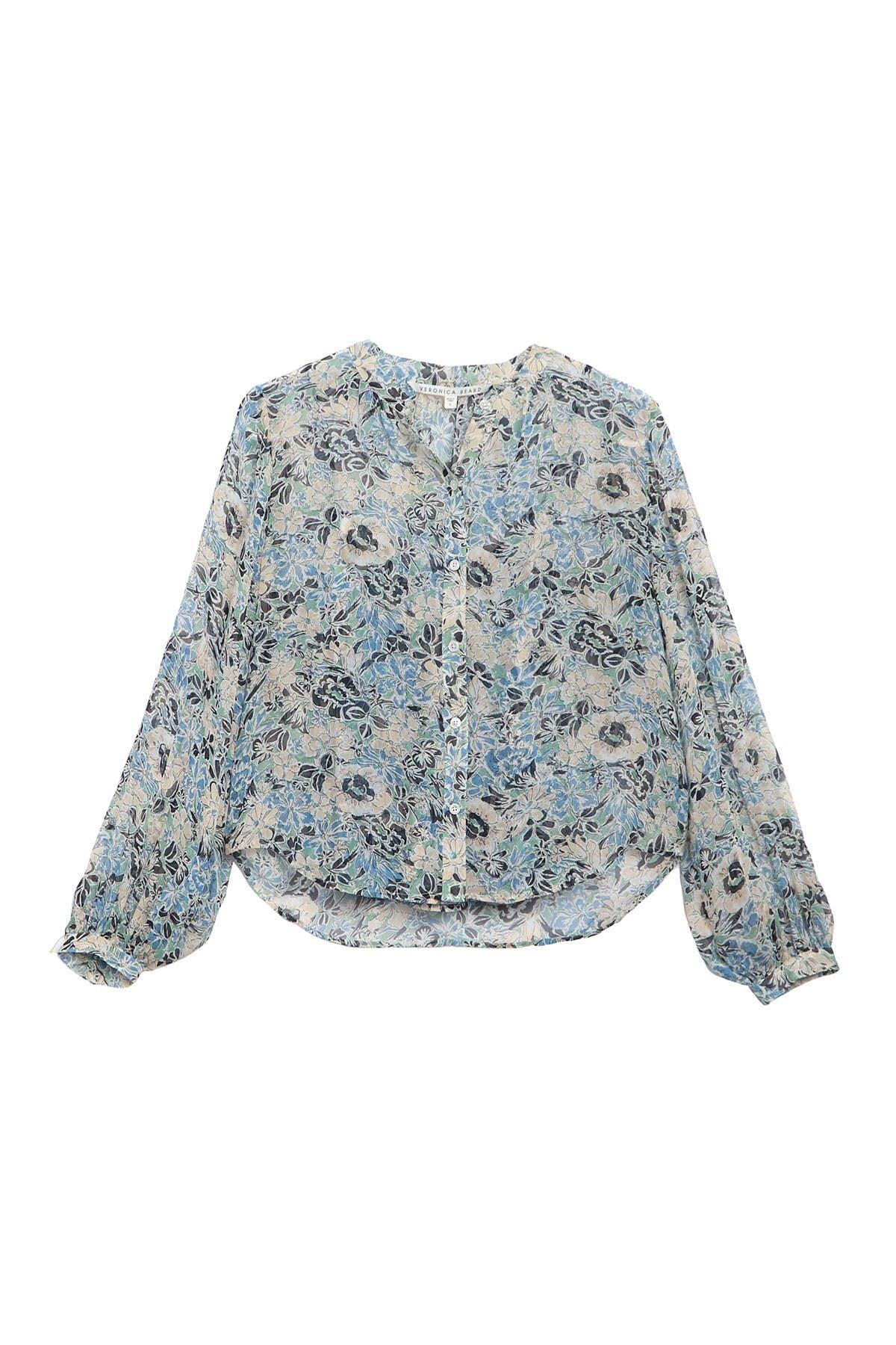 Image of VERONICA BEARD Ashlynn Floral Print Silk Blouse