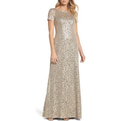La Femme Shimmer Jacquard Gown, Metallic