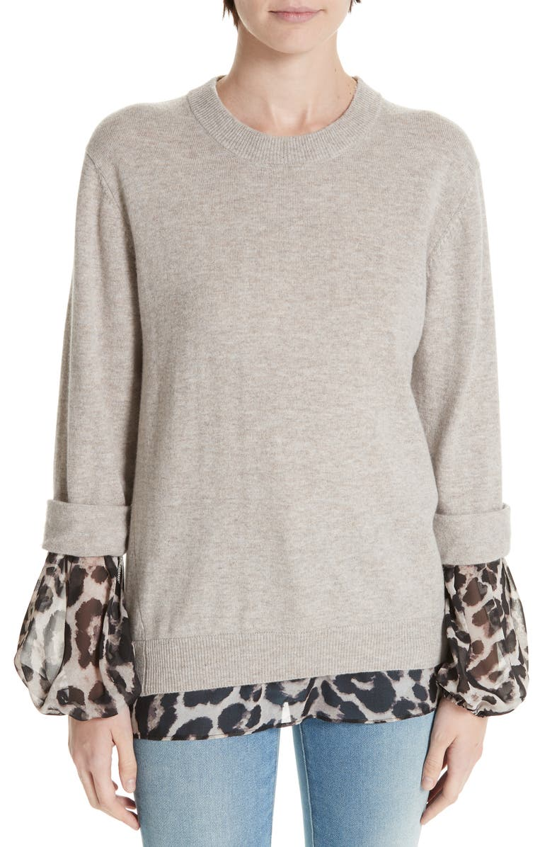 BROCHU WALKER Layered Animal Print Wool & Cashmere Sweater, Main, color, 270