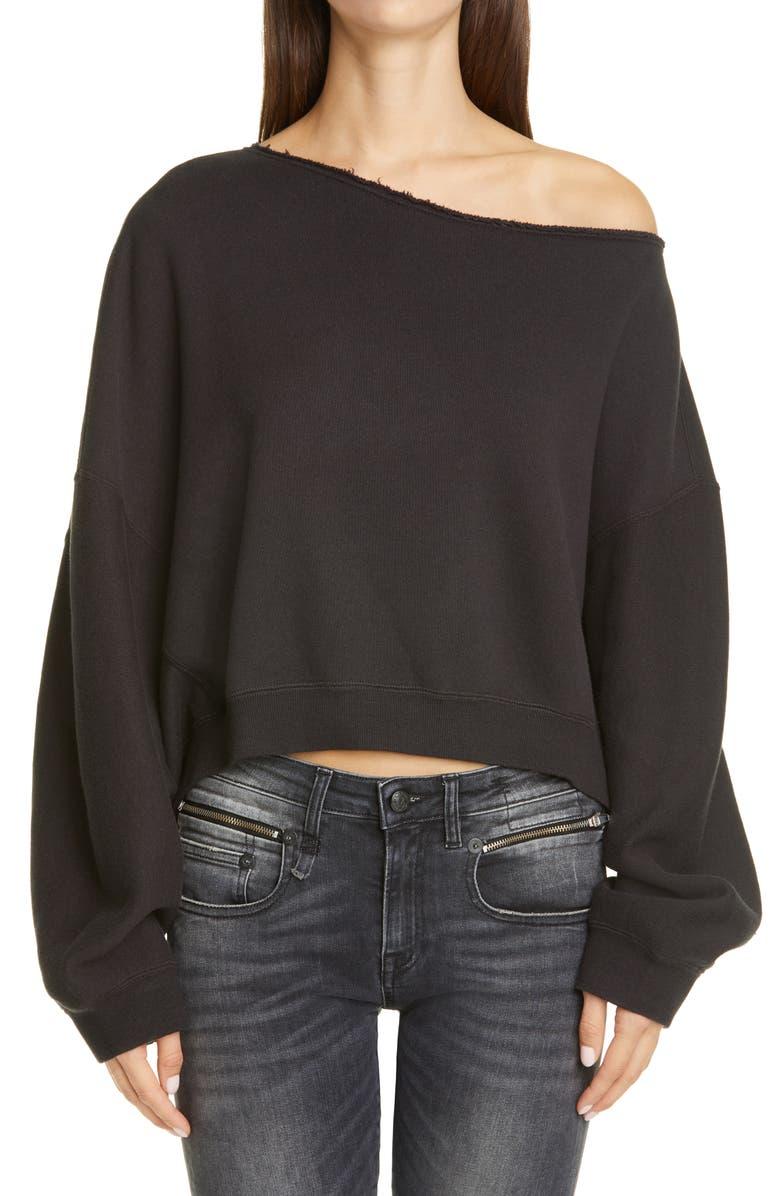 R13 Patti Wide Neck Crop Sweatshirt, Main, color, 007