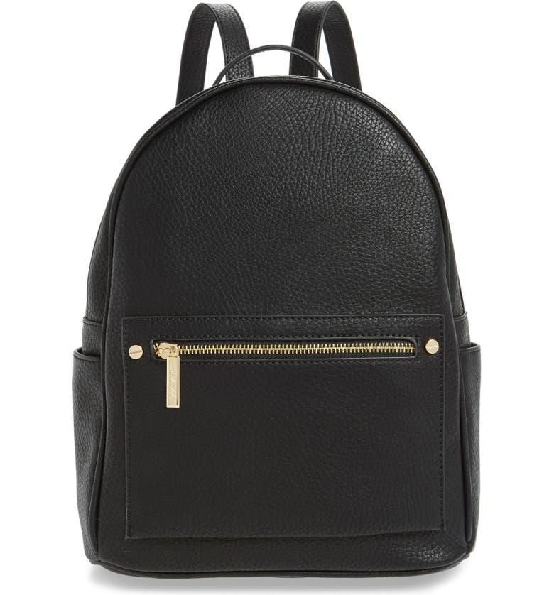 MALI + LILI Addie Vegan Leather Backpack, Main, color, 001
