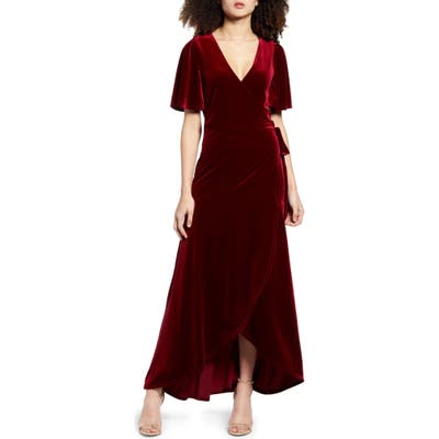 Leith Velour Maxi Wrap Dress