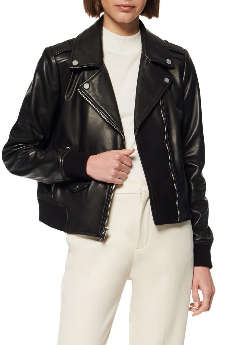 MARC NEW YORK Sandino Leather Bomber Jacket, Main, color, BLACK