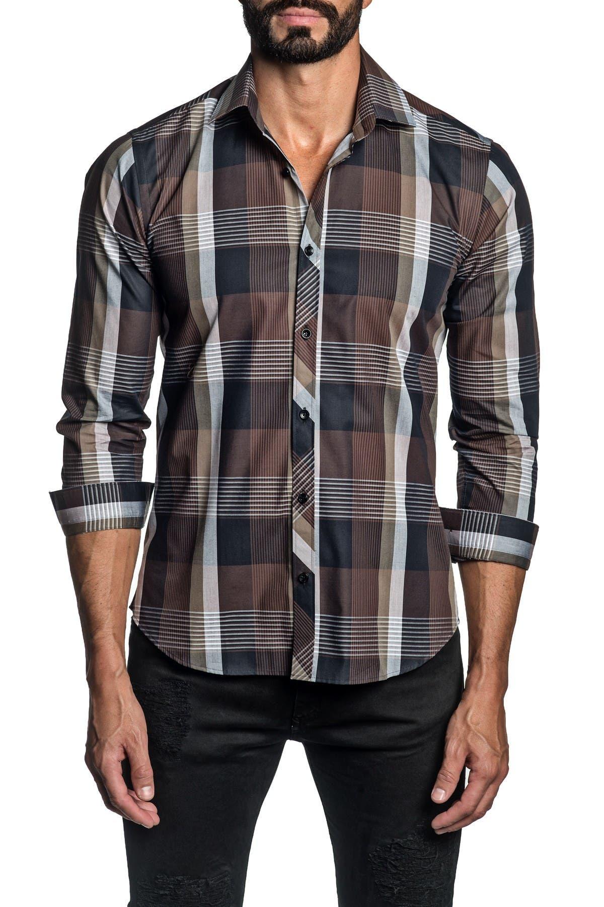 Image of Jared Lang Trim Fit Brown Plaid Dress Shirt
