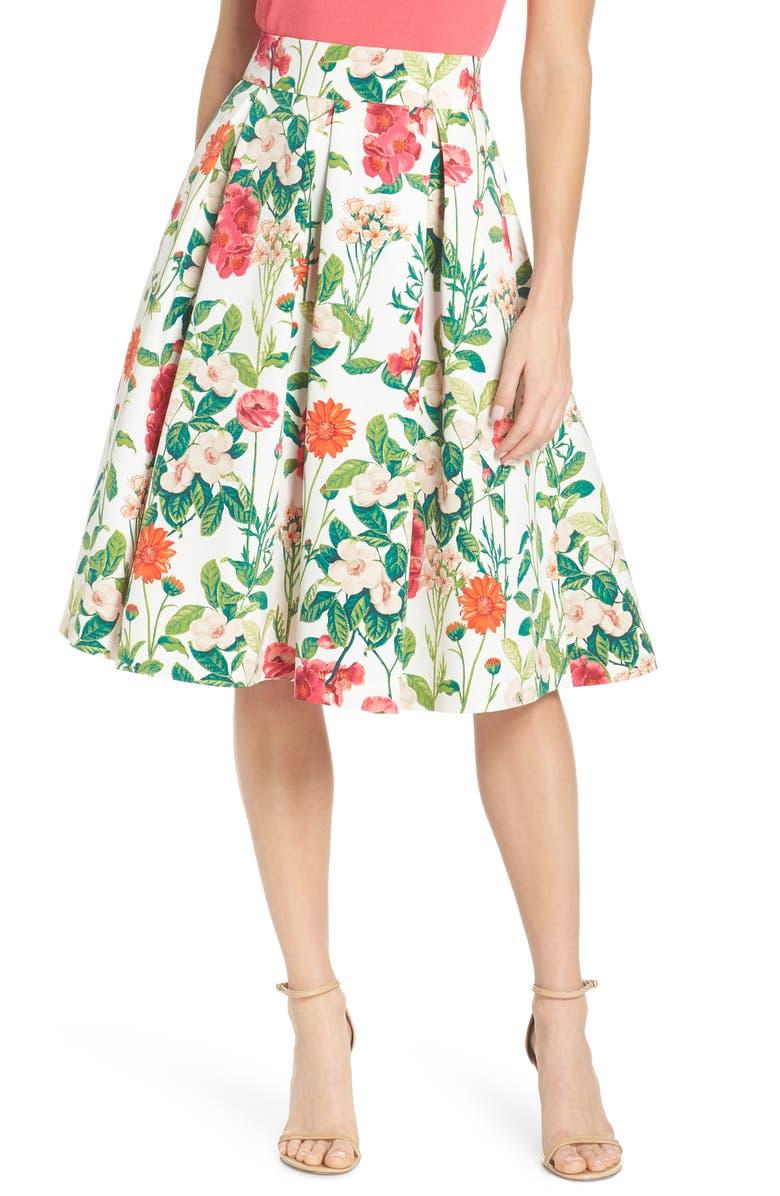 ELIZA J Floral A-Line Skirt, Main, color, 901