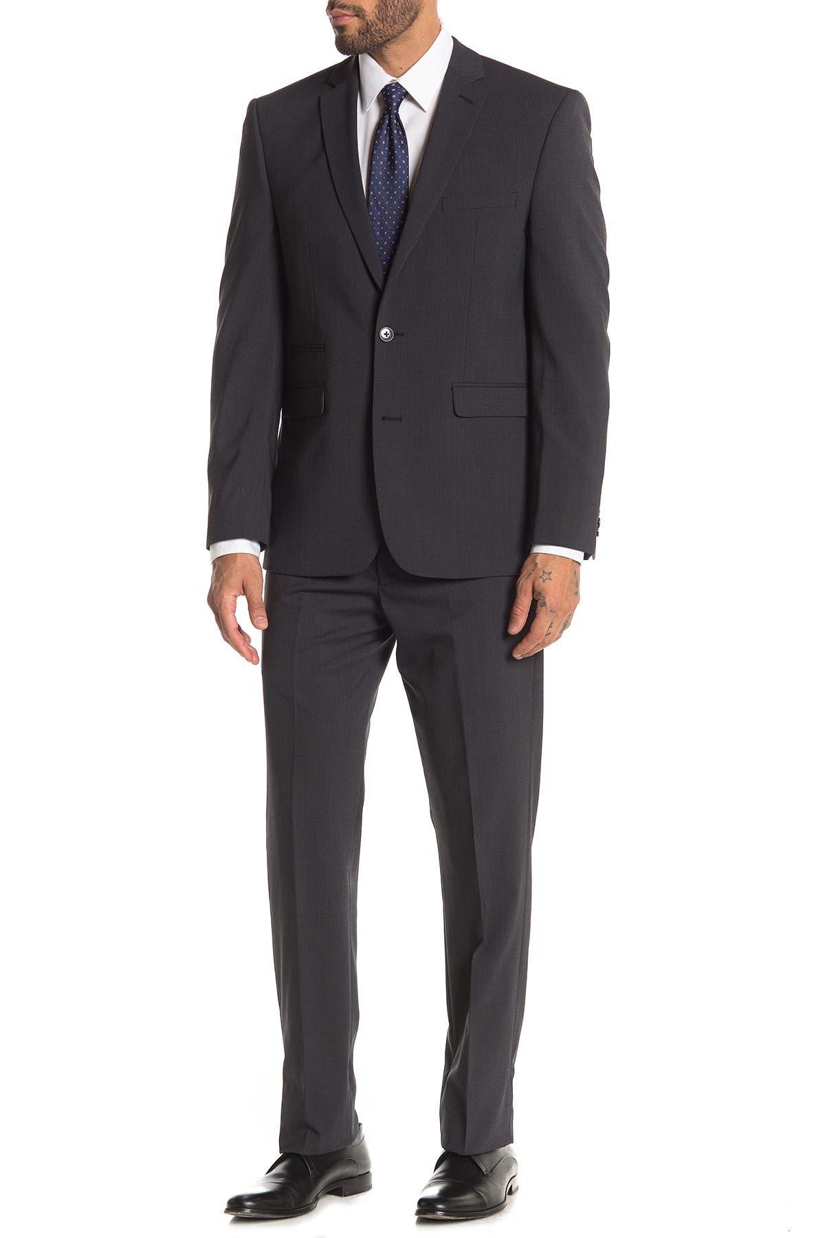 Image of Vince Camuto Dark Grey Plaid Two Button Notch Lapel Slim Fit Suit