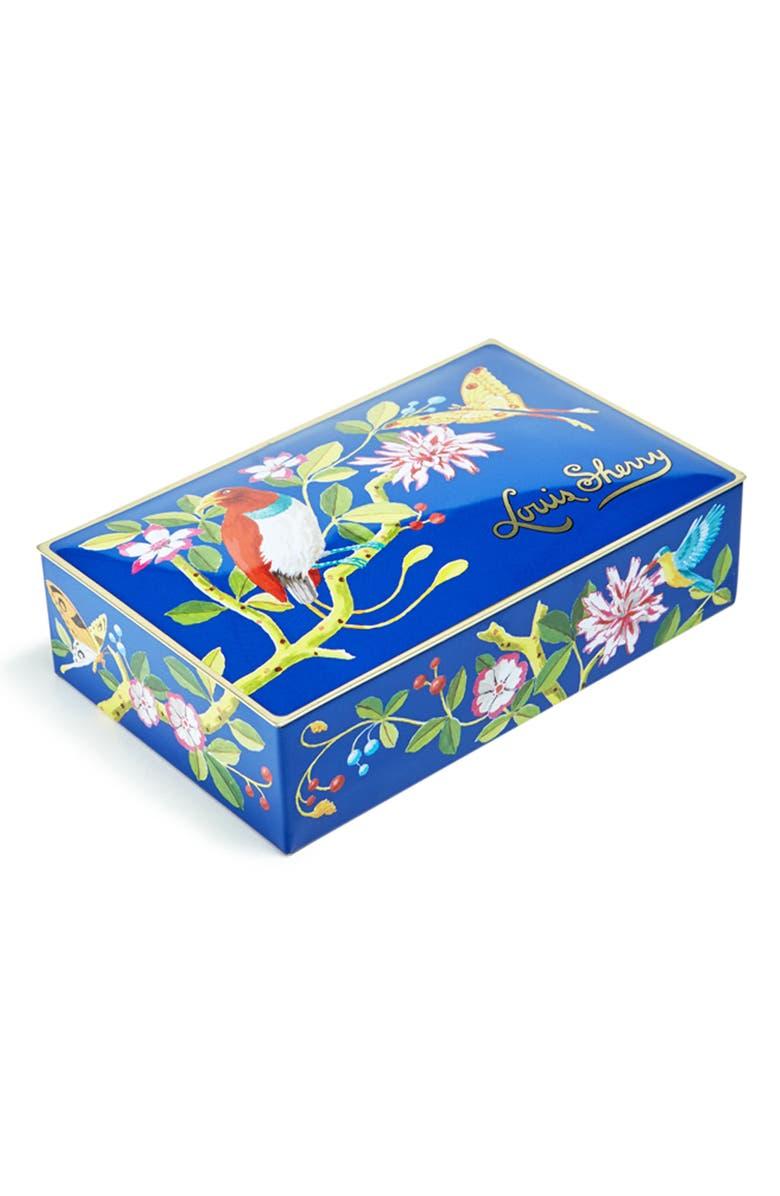 LOUIS SHERRY Bird Butterfly 12-Piece Chocolate Truffle Tin, Main, color, DARK BLUE WITH BIRD