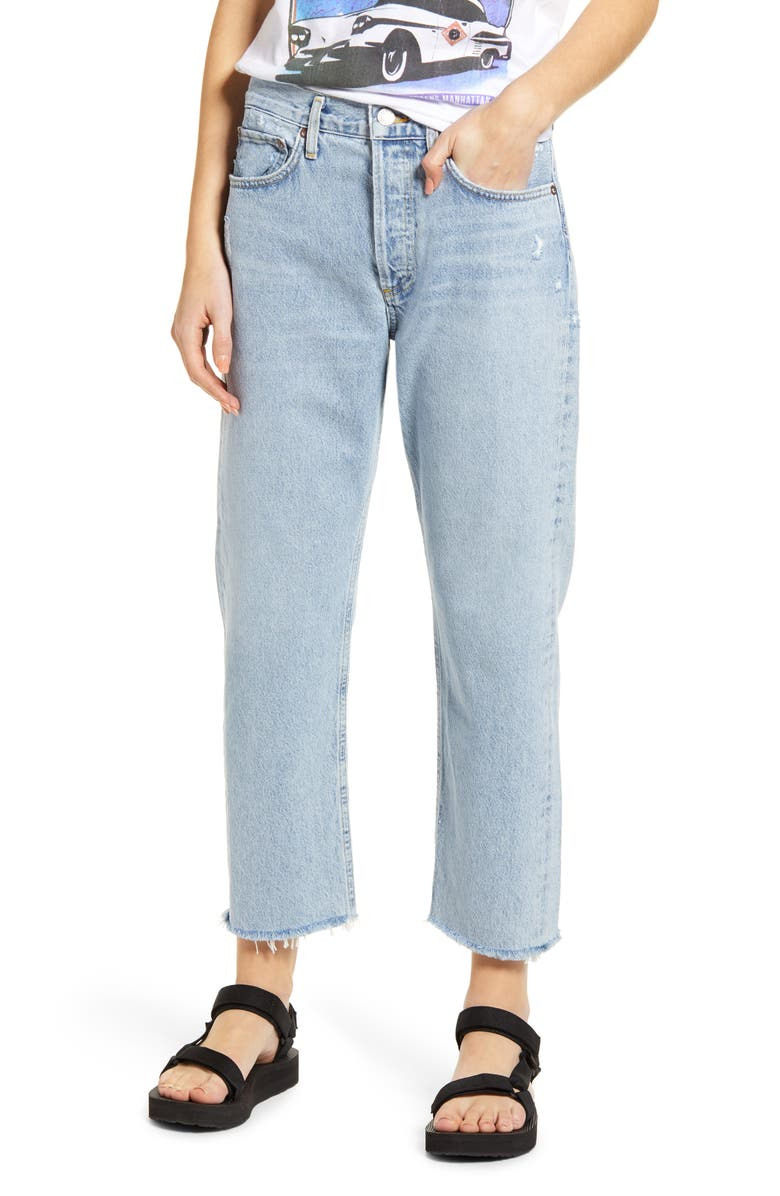 AGOLDE Parker Easy High Waist Fray Hem Crop Straight Leg Jeans, Main, color, SWAP MEET