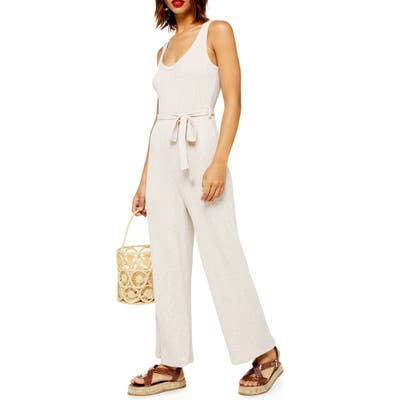 Topshop Ribbed Slouch Sleeveless Jumpsuit, US (fits like 0) - Beige