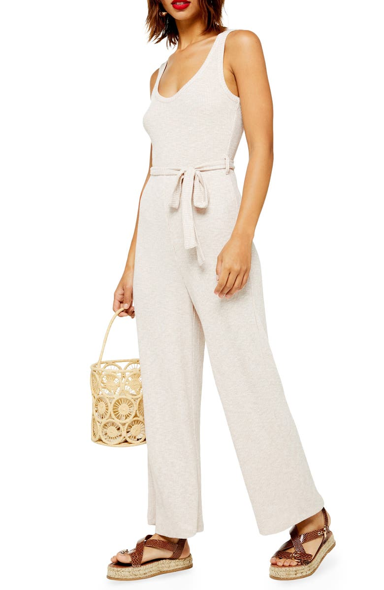 TOPSHOP Ribbed Slouch Sleeveless Jumpsuit, Main, color, NUDE