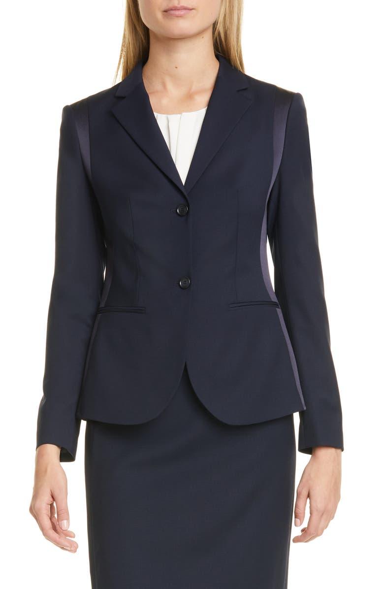 BOSS Jatemisa Stretch Wool Jacket, Main, color, 001