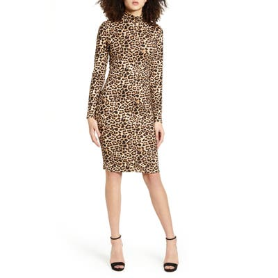 Leith Long Sleeve Body-Con Dress, Brown