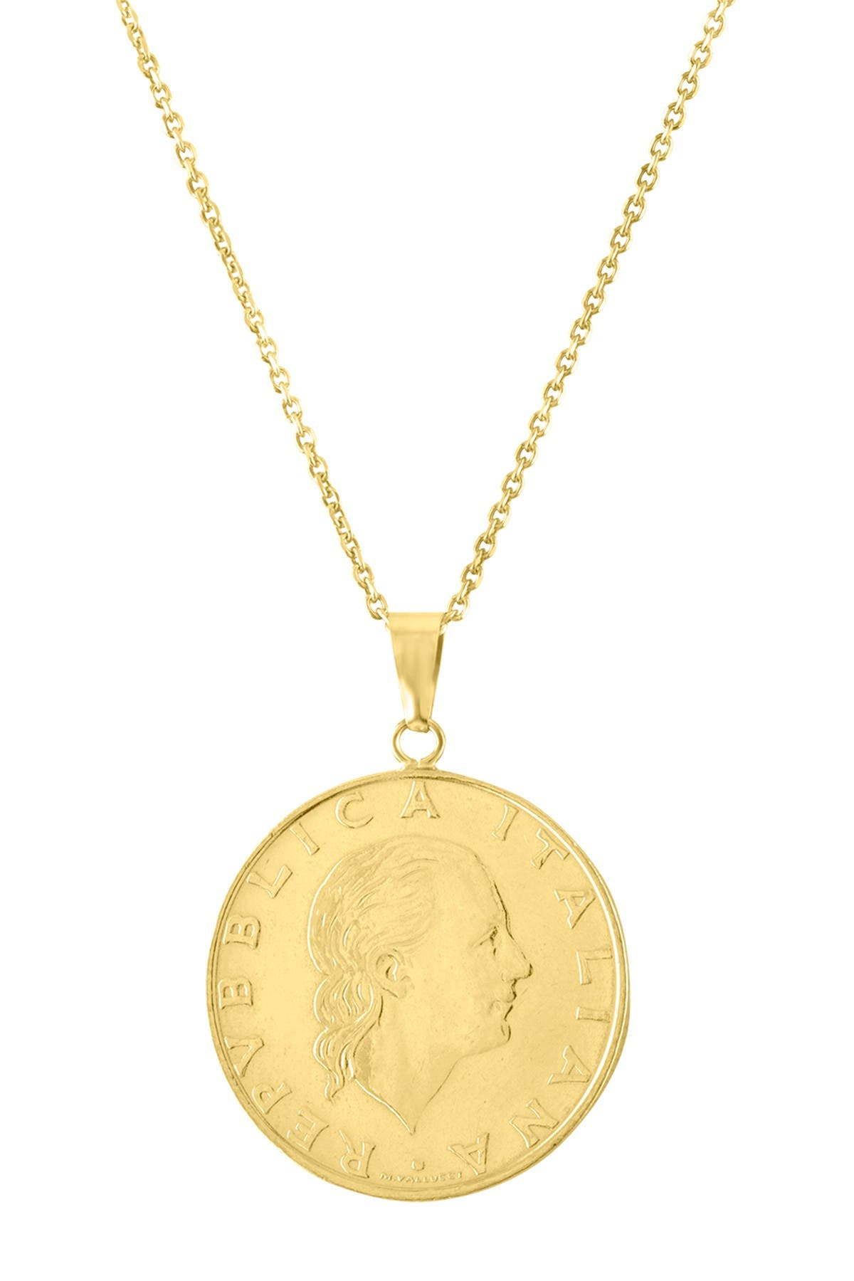 Image of Sphera Milano 14K Yellow Gold Authentic Coin Pendant Necklace