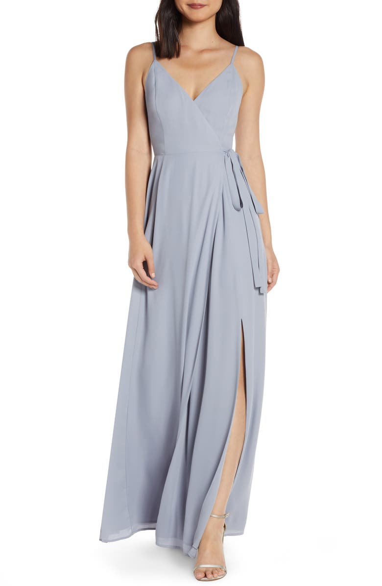 WAYF The Angelina Slit Wrap Gown, Main, color, DUSTY BLUE