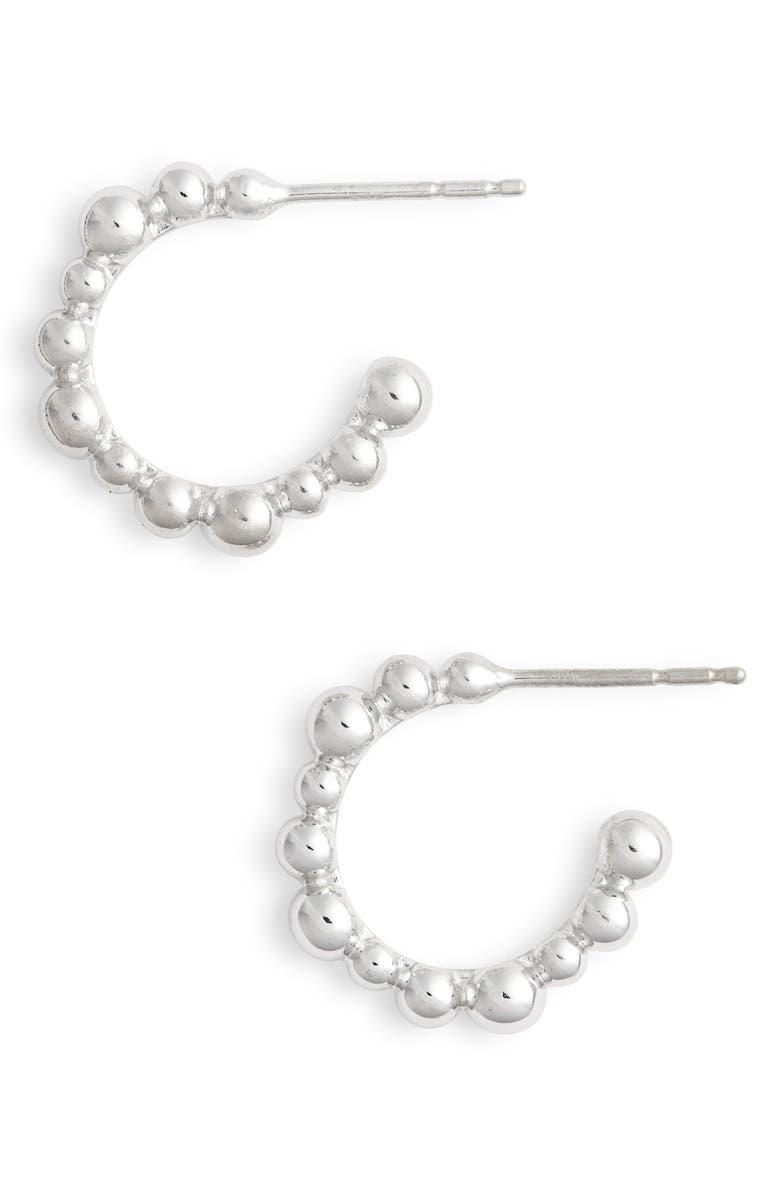 ANZIE Bubbling Brook Hoop Earrings, Main, color, SILVER