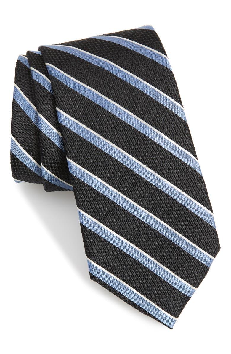 CALIBRATE Fillmore Stripe Silk Tie, Main, color, BLACK