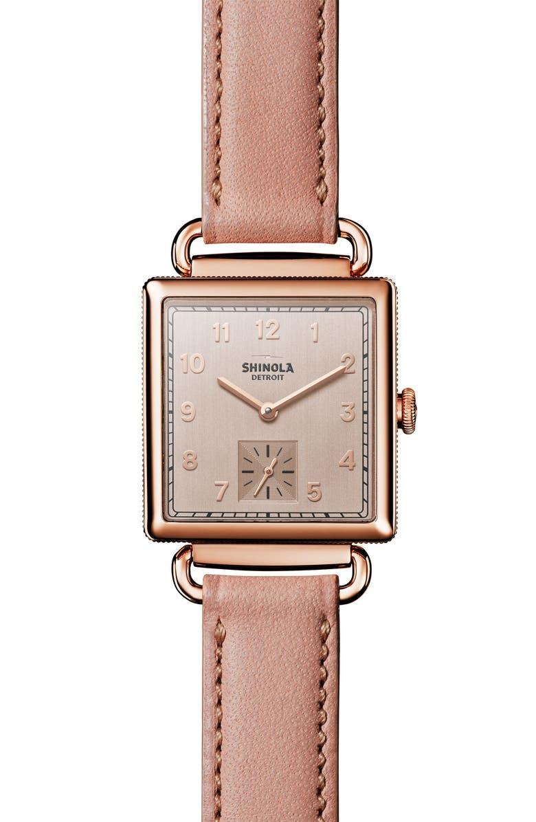 SHINOLA Cass Leather Strap Watch, 28mm, Main, color, NO_COLOR