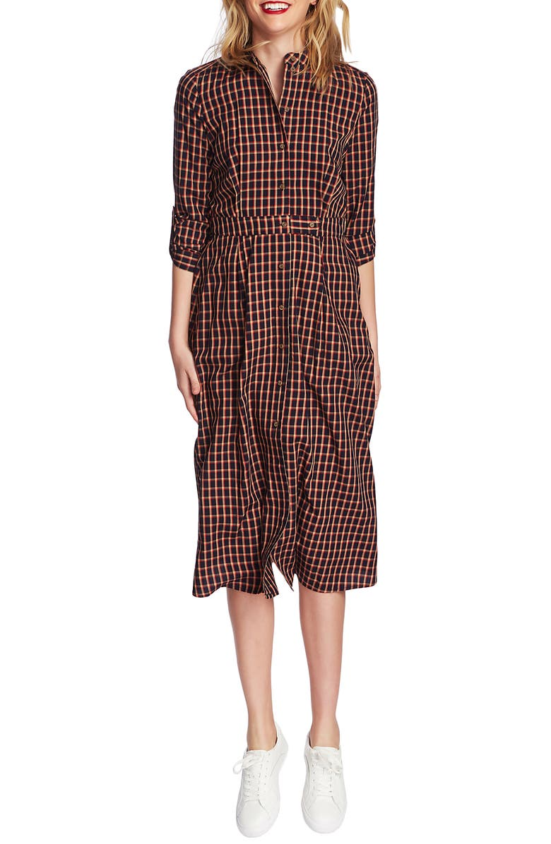 COURT & ROWE Varsity Check Shirtdress, Main, color, TRUE CAMEL