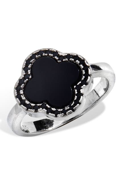 Image of Savvy Cie Sterling Silver Onyx Clover Ring