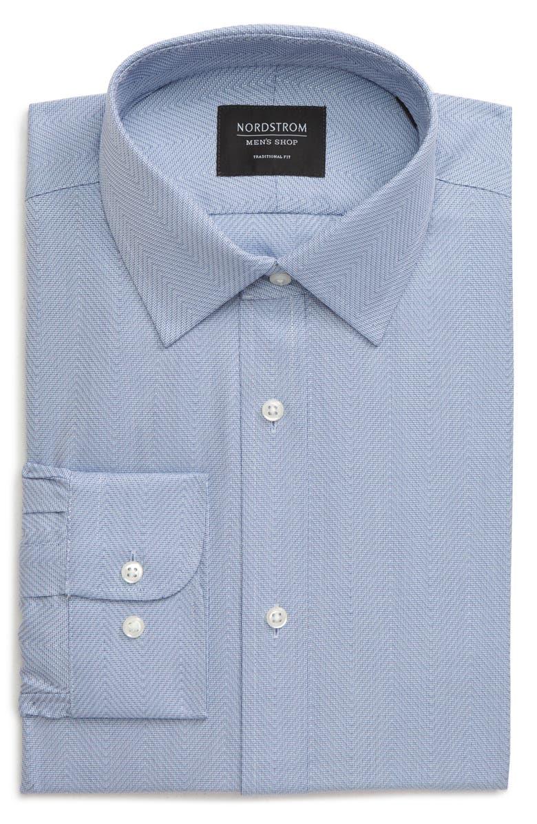 NORDSTROM MEN'S SHOP Traditional Fit Herringbone Dress Shirt, Main, color, BLUE TEMPEST