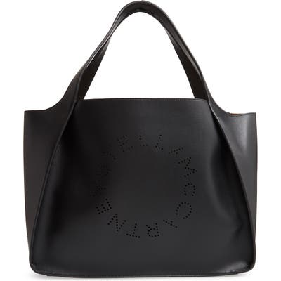 Stella Mccartney Perforated Logo Faux Leather Tote - Beige