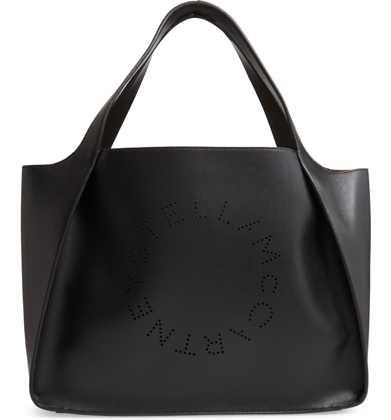 STELLA MCCARTNEY Perforated Logo Faux Leather Tote, Main, color, BLACK